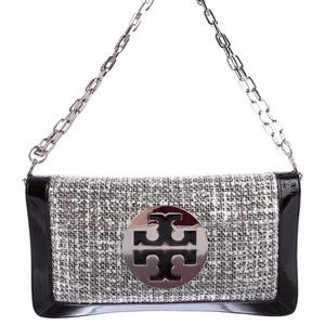 Tory Burch patent leather tweed shoulder bag